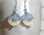 wave lamp work blue bead  and sterling silver dangling earrings