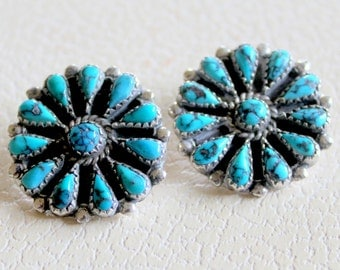 Zuni Native American Turquoise Sterling Silver Earrings Clip On