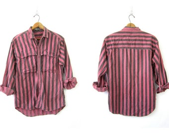 Washed out Cotton Shirt Mens Striped Collared Button Down Pocket Shirt Slouchy Pink and Gray Stripe Vintage 1980s Men's Large