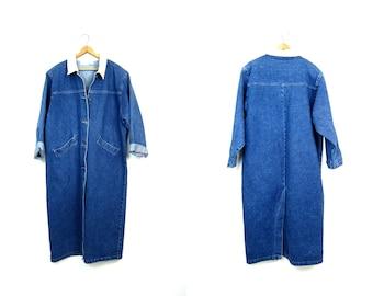 Floor Length Jean Jacket Denim Trucker Jacket Long Vintage Coat 90s Hipster Duster Coat Button Down Denim Trench Coat Women's Medium Large