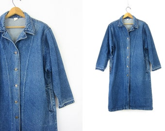 Long Jean Duster Jean Jacket Denim Trucker Jacket Vintage Denim Coat 90s Hipster Trench Coat Women's Medium