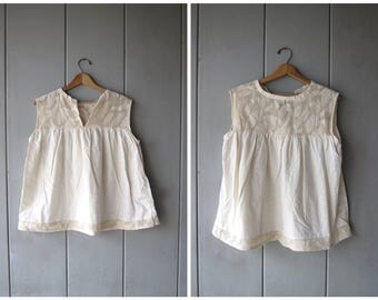 Natural Cotton Blouse Hand Knit Tank Top Draped Raw Textured White Cream Ethnic Floral Blouse Slouchy Loose Fit Top DES Womens Large