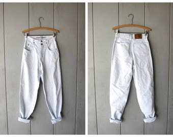 80s Denim Jeans BLEACHED Blue White 1980s High Waist Jeans Minimal Hipster Jeans Tapered Leg Skinny Jeans Womens XS Small Waist 26