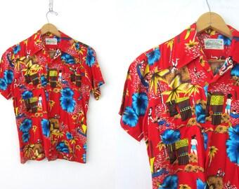 Red Hawaiian Shirt 70s Button Up Rayon shirt Pocket Tee Boyfriend Beach Lounge resort Top Floral Palm Tree Print Vintage Mens Size Small