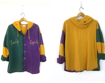Color Block Sweatshirt Body Equipment Colorblock Button Up Jacket w Hood Purple Gold Green Rugby Sweater Casual Hoodie BOLD Colors Size XL