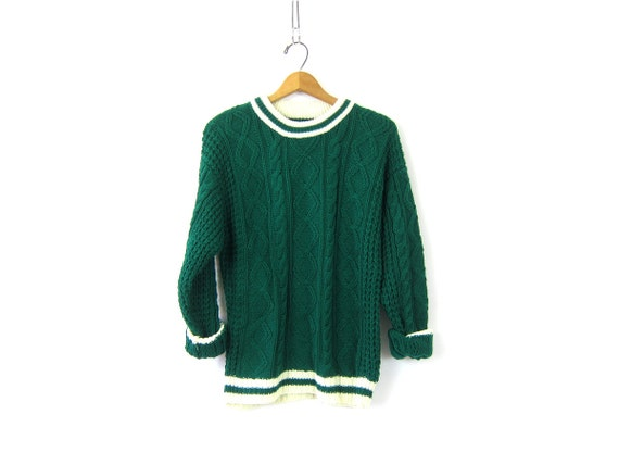 1980s Green Ringer Sweater Basic Pullover Top Cable Knit Sweater Nerd Preppy Jumper Cableknit Retro Sweater Top Medium