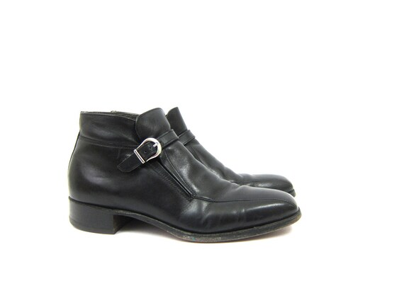 Vintage Black Leather Beatle Boots Hipster Ankle Boots Mens Buckle Shoes Chelsea Rockabilly Boots Men's Size 9.5