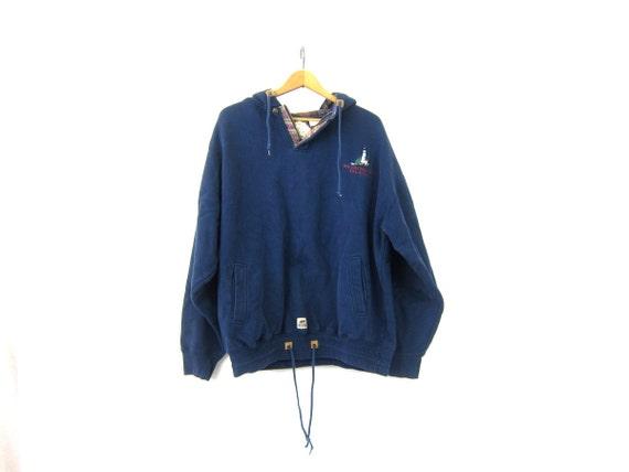 Blue Hoodie Pullover Sweatshirt Oversized baggy Hipster Shirt Washington Island Habitat Sweater Women's Size XL Extra Large