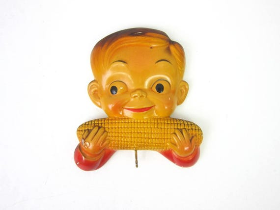 vintage Chalk Boy Eating Corn on the Cob wall hangings Chalkware Retro Kitchen Granny Mid Century Vintage Home Decor