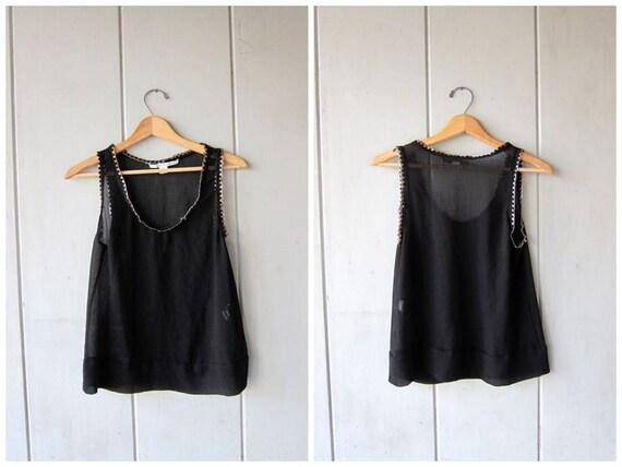 Black Silk Tank Top Diane Von Furstenburg SHEER Black Blouse 90s Sexy Woven CHAIN Top Modern Slinky Silk Top Silk Vintage Womens Medium