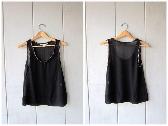 Black Silk Tank Top DVF SHEER Sleeveless Blouse 90s Sexy Woven CHAIN Top Modern Black 1990s Loose Fit Top Silk Vintage Womens Medium