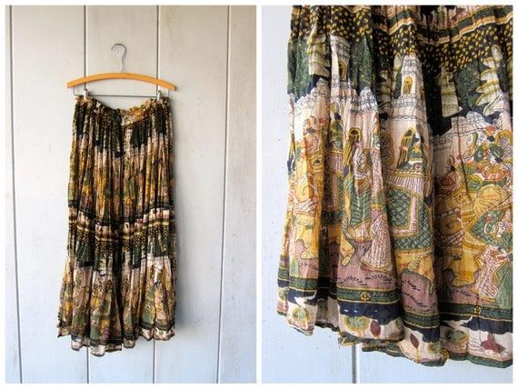 Cotton Gauze Hippie Skirt Colorful Print Hippie Skirt Elephants People Boho Tribal Gypsy Midi Bali Skirt Semi Sheer DES Womens One SIZE
