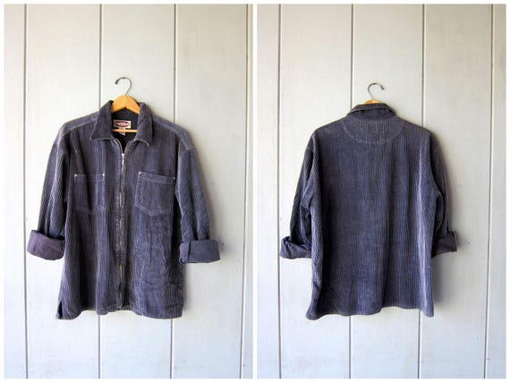 90s Dark Blue Ribbed Shirt ZIP UP Corduroy Shirt Jacket 90s Oversized Preppy 1990s Vintage Ribbed Pocket Shirt Coat Womens Large