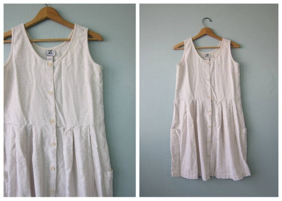 Natural White Baby Doll Sun Dress 90s Rayon Cotton Sundress Bohemian Mini Boho Dress 1990s Button Down Pocket Dress Vintage Medium Large