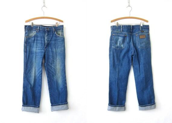 80s Distressed Blue Jeans Wrangler Straight Leg Boyfriend Jeans Vintage Mens Worn In Work Jeans Hipster Blue Denim Men's 33 x 30