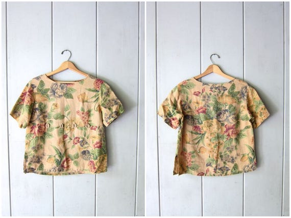 90s Linen Blouse Minimal Floral Top Beige Green Flower Print Blouse Boxy Short Sleeve Tee Natural Linen Crop Top Vintage Womens Small
