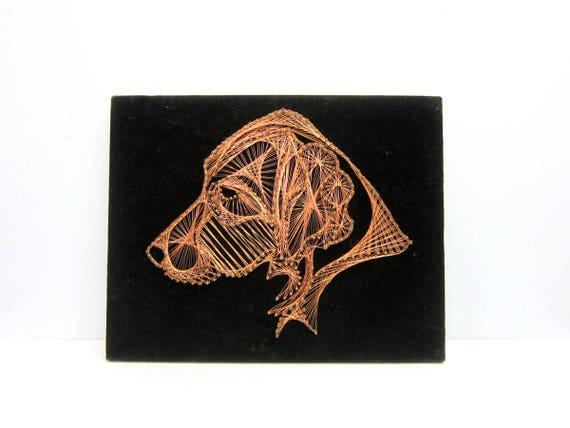 Copper Wire Dog Head String Art on Black Velvet Folk Art Retro Home Decor Wall Hanging Hunting Dog Picture
