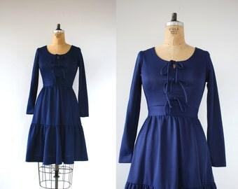 vintage 1960s dress / 60s navy blue dress / 60s bow dress / 60s ruffle hem dress / 60s poly dress / 60s prairie dress / small medium s m med