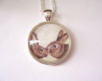 Rabbits pendant necklace, original pencil animal drawing, wildlife pendant necklace, miniature rabbit art jewelry, silver rabbit gift
