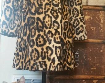 1960's faux leopard coat animal print viva glam bombshell rock and roll mod boho classic vintage 60's