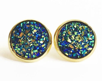 Green Peacock Druzy Studs - Peacock Druzy - Druzy Studs - Green Stud Earrings