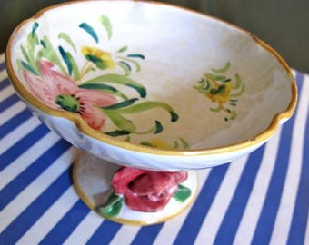 Italy pedestal dish, rustic Italian dish, Tuscany dinng dish, Italian Kitchen,  guest soap bowl, trinket dish, Ceramics from Italy