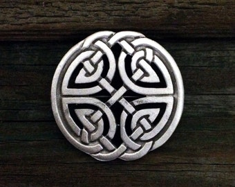 Round Celtic Knot-Work Brooch | Celtic Brooch | Scottish Jewelry | Celtic Gift | Irish Jewelry | Celtic Jewelry | by Treasure Cast Pewter