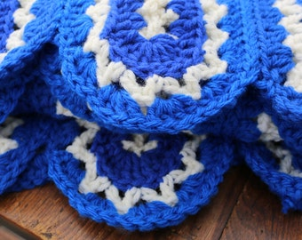 Flag Blue and White Afghan Crochet blanket Lap blanket Couch throw Team Spirit Throw blue white  blanket Toddler Afghan Lap Afghan