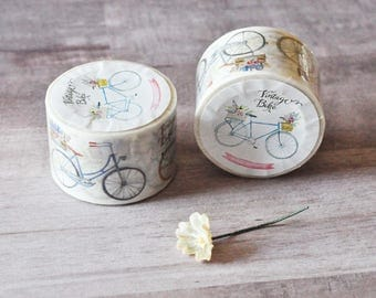 Wide Vintage Bicycle Washi Tape - Bike - Summer - Travelers Notebook - Journal - Midori - Scrapbooking - Paper Crafting