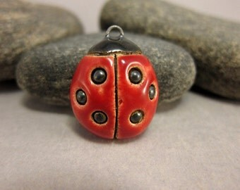 RESERVED for Sini RESERVED Ceramic Ladybug Pendant...Six Dots