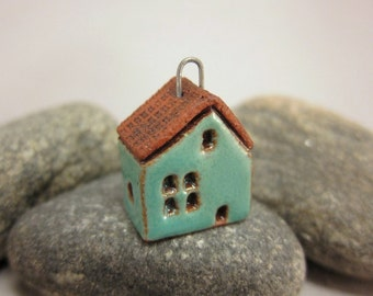 Terracotta Cottage Pendant...Glossy Turquoise Green