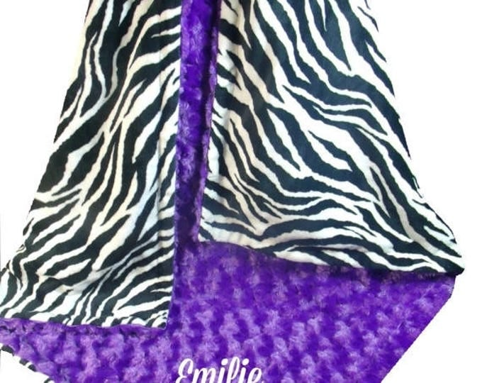 Photoprop CLEARANCE Purple Rose Swirl and Zebra Print Minky Dot Baby Blanket, Purple Black Minky Blanket, available ,