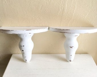 Pair of Matching Shabby Chic White Curvy Wood Wall Shelves 2 Two