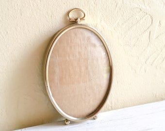 Vintage Oval Gold Metal Picture Frame with Convex Bubble Glass