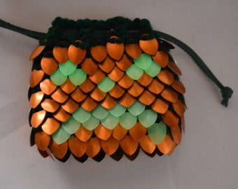 Jack o'Lantern Glow in the Dark Dice Bag in Dragonhide Knitted Scalemail Armor Halloween Bag