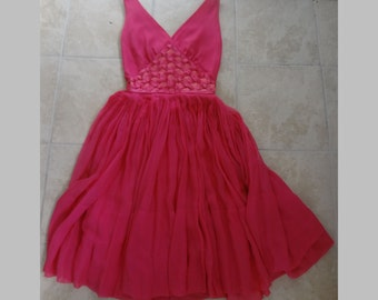 Vintage Early 1960s Bright Pink Silk Chiffon and Satin Party Dress