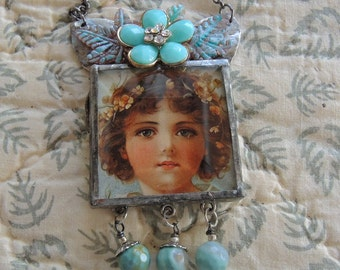 Soldered Assemblage Necklace - Little One - Soldered Glass Bevel Amazonite Beads