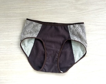 High waist underwear, organic cotton lace panties in tan and brown