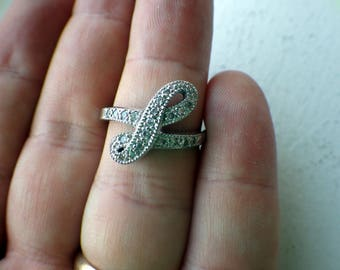 Vintage Sterling Silver and CZ Bow Ring - Size 7.75