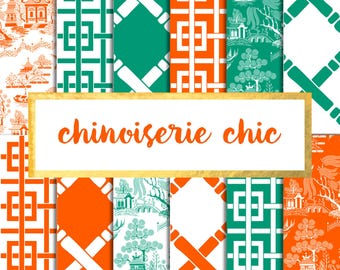 Chinoiserie Chic V.3 Digital Paper Pack (Instant Download)