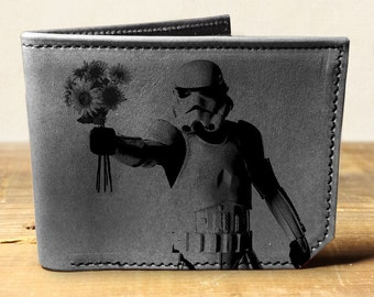 wallet, leather wallet, mens leather wallet, star wars wallet, stormtrooper - 035