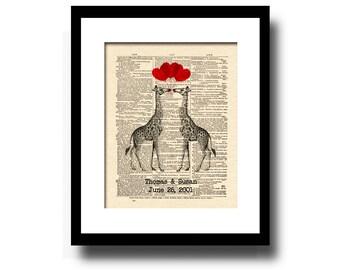 Custom Anniversary Gift, 1st Anniversary Gift, Paper Anniversary, Names and Date, Custom Giraffe Art