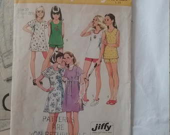 Simplicity Pattern 6307 Jiffy Dress Top Shorts Girls size 10 Free Shipping