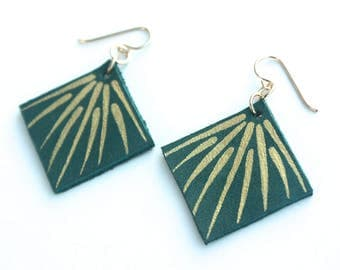 Hand Painted Leather Earrings - Deep Teal Green Leather with 14k Gold-Fill