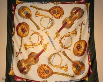 Vintage BETMAR Women's scarf featuring Stringed Musical Instruments - Mandolin, Violin etc