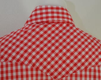 Vintage GINGHAM CHECK short sleeve western shirt USA