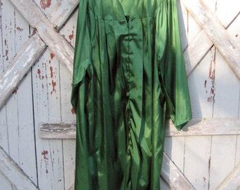 "Jostens 1980s kelly green graduation choir church robe L XL 5' 7"" - 5' 9"""
