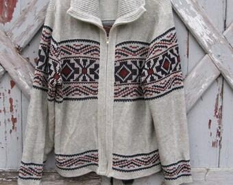 Vintage 1970s cowichan style cardigan sweater M L