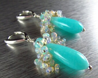 25OFF Amazonite and Ethiopian Sterling Silver Lever Back Earrings