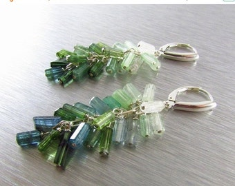 25OFF Green And Blue Tourmaline Earrings, Indicolite and Green Tourmaline, Sterling Silver Tourmaline Dangle Cluster Earrings